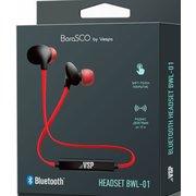 Беспроводная стереогарнитура BoraSCO BWL-01 черный/красный, Bluetooth 4.2, плоский провод