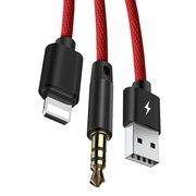 Аудиопереходник Baseus L34 Apple to 3.5mm & USB Charging Audio Cable красный
