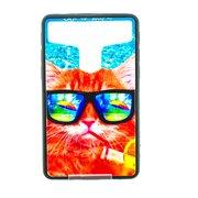 """Накладка универсальная имитация стекла для планшета 7 дюймов """"Рыжий кот в очках"""", цветной"""
