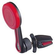 """Автомобильный держатель Perfeo 532-2 для смартфона до 6,5""""/ на воздуховод/ магнитный/ поворотный/ черн+красный"""