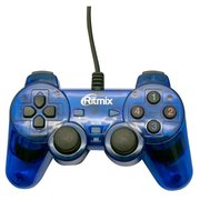 Геймпад Ritmix GP-006 Blue, USB, 19 кнопок, вибрация, PC, 1.5м