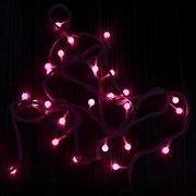 Гирлянда ёлочная, жемчуг, шнур белый, цвет розовый