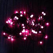 Гирлянда ёлочная, жемчуг, шнур чёрный, розовый
