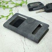 Чехол-книга универсальный джинсовый с боковым зажимом слайдер 5.0-5.5 чёрный