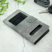 Чехол-книга универсальный джинсовый с боковым зажимом слайдер 5.0-5.5 серый