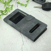 Чехол-книга универсальный джинсовый с боковым зажимом слайдер 5.5-6.0 чёрный