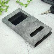 Чехол-книга универсальный джинсовый с боковым зажимом слайдер 5.5-6.0 серый