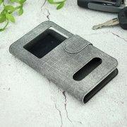 Чехол-книга универсальный джинсовый с боковым зажимом слайдер 4.0-4.5 серый