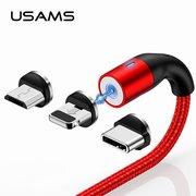 Дата-кабель USAMS US-SJ336 U29 Aluminum Magnetic lightning 2м (красный)