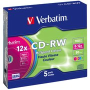 Диск CD-RW Verbatim 700Mb 12x Slim case (5шт) Color (43167)