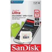 Карта памяти Sandisk microSDXC 64Gb Class10 SDSQUNS-064G-GN3MN Ultra 80 w/o adapter