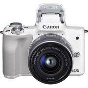 """Фотоаппарат Canon EOS M50 белый 24.1Mpix 3"""" 4K WiFi 15-45 IS STM LP-E12 (с объективом)"""