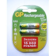 Аккумулятор GP LR03, 400mAh, AAA, Smart Energy, никель-металгидрид (GP 40AAAHCSV-2CR2) блистер 2 шт
