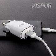 СЗУ Aspor А818 Plus 1USB + кабель Type-C (2.4A/IQ) Белый