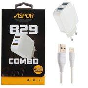 СЗУ Aspor А829 2USB + кабель Lightning (2.4A/IQ) Белый
