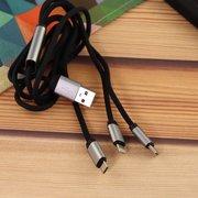Дата-кабель Aspor AC-20 Micro+Lightning+Type-C тканевый 1,2м чёрный