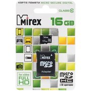Карта памяти Mirex microSD 16GB Class10 + adapter (13613-AD10SD16)