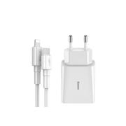 СЗУ Baseus Speed Mini PD 18W 2USB EU + Type-C-to-lightning cable, white