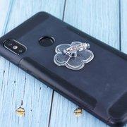 Popsocket-кольцо с камнями в форме цветка прозрачный