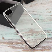 Силиконовая накладка iPhone 7 с Серебристой зеркальной рамкой