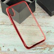 Силиконовый чехол iPhone X с Красной зеркальной рамкой