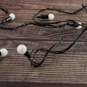 Гирлянда новогодняя чёрный шнур шарики 100 L 6м, цветная