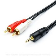 Кабель audio Atcom DC3.5 to 2RCA, 1.5m, mini-jack (M) - 2 тюльпана (M)