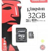 Карта памяти Kingston microSDHC 32GB Class 10 UHS-I U1 Canvas Select (SD адаптер) 80MB/s