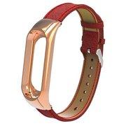 Ремешок кожанный для Mi Band 3 Leather Strap Red